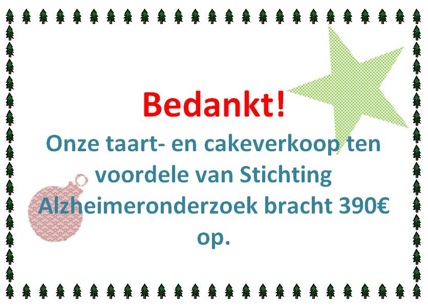 Opbrengst taart- en cakeverkoop!